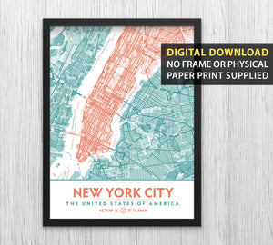 Teal & Coral New York City Map - Printable