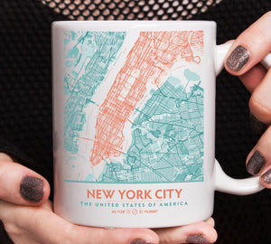 Teal & Coral Aesthetic New York City Map