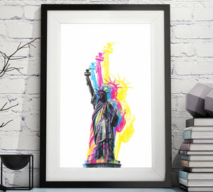 CMYK Artwork of Lady Statue of Liberty pop artwork