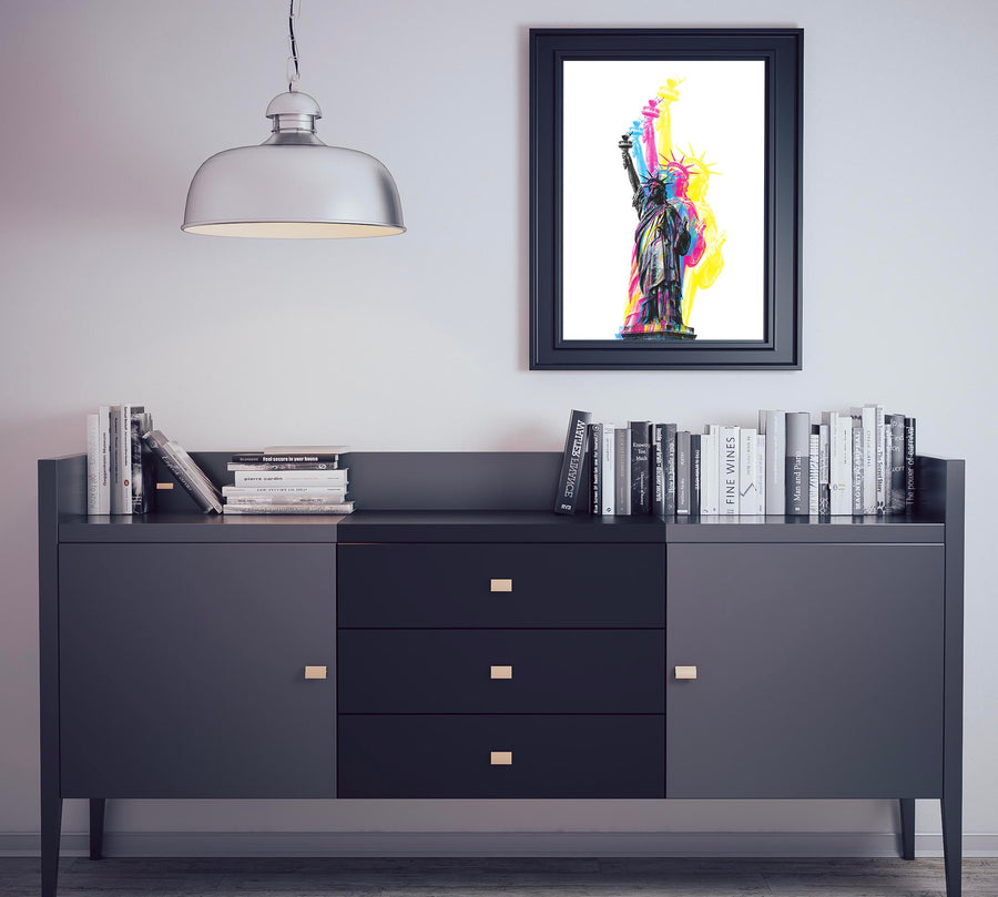 CMYK Artwork of Lady Statue of Liberty on wall