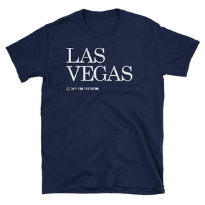Las Vegas City Coordinates Tshirt in deep blue