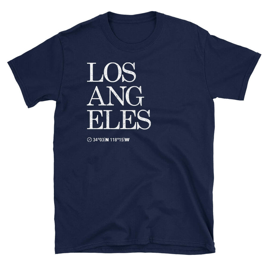 Los Angeles Map Coordinates Tshirt Design in navy blue colour