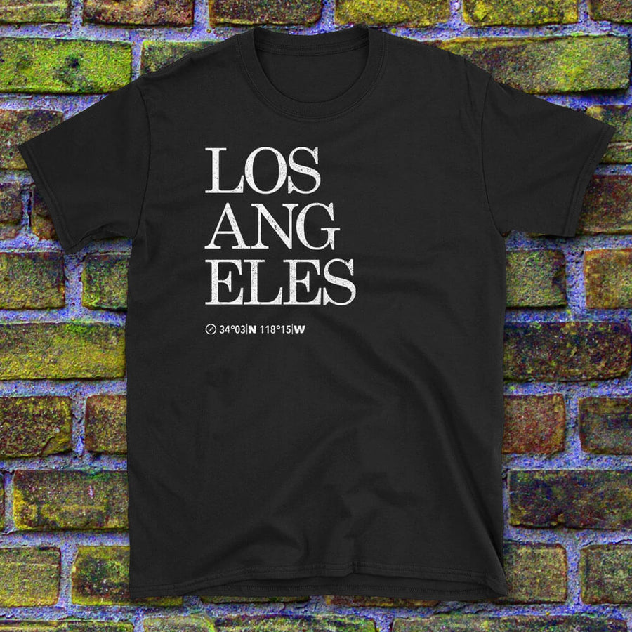 Los Angeles Map Coordinates Tshirt Design with textured background image