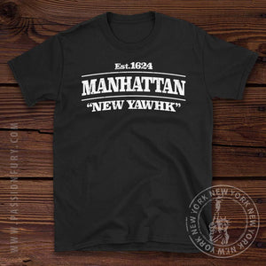 Manhattan New York City T shirt on Wooden background