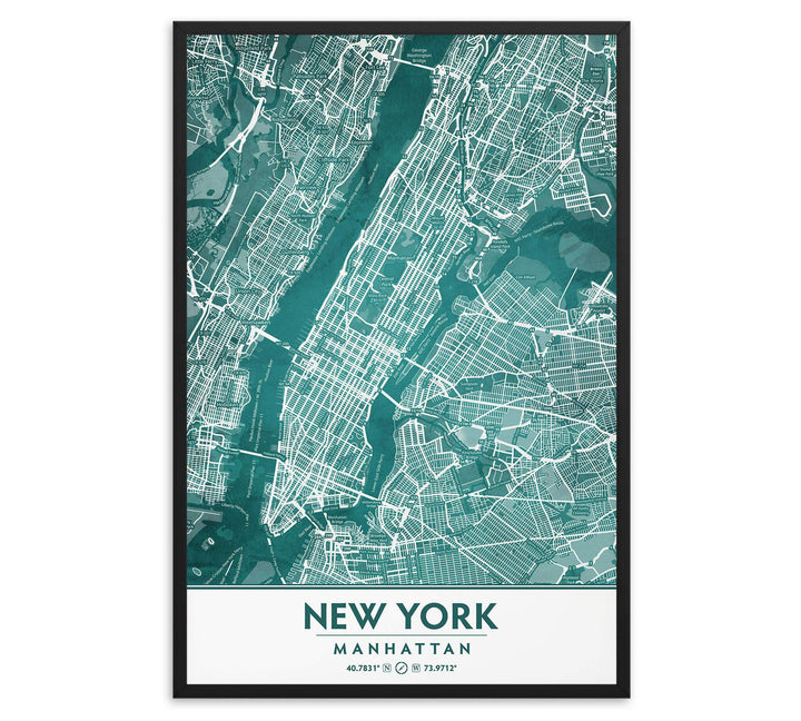 Manhattan New York City in Teal image