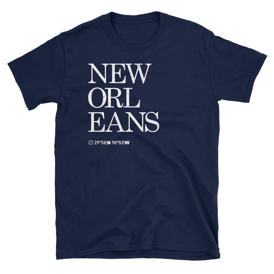 New Orleans City Coordinates Tshirt in navy blue