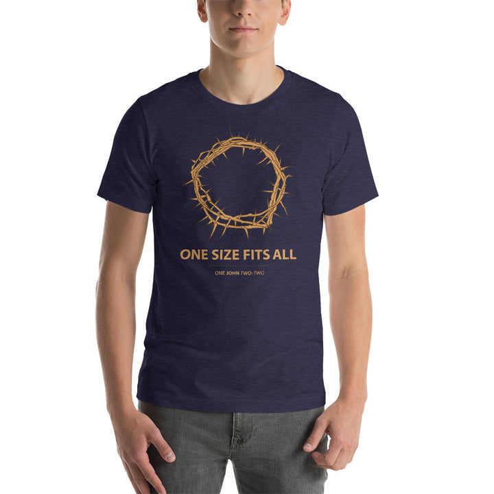 One Size Fits All - Crown of Thorns Christian Tshirt in Heather color