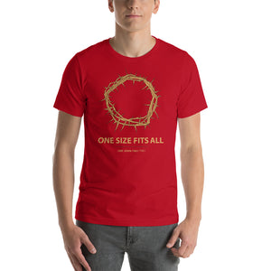 One Size Fits All - Crown of Thorns Christian Tshirt in red colour