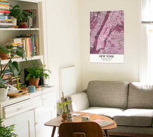 Black Rose Print Poster Showing Manhattan in living room