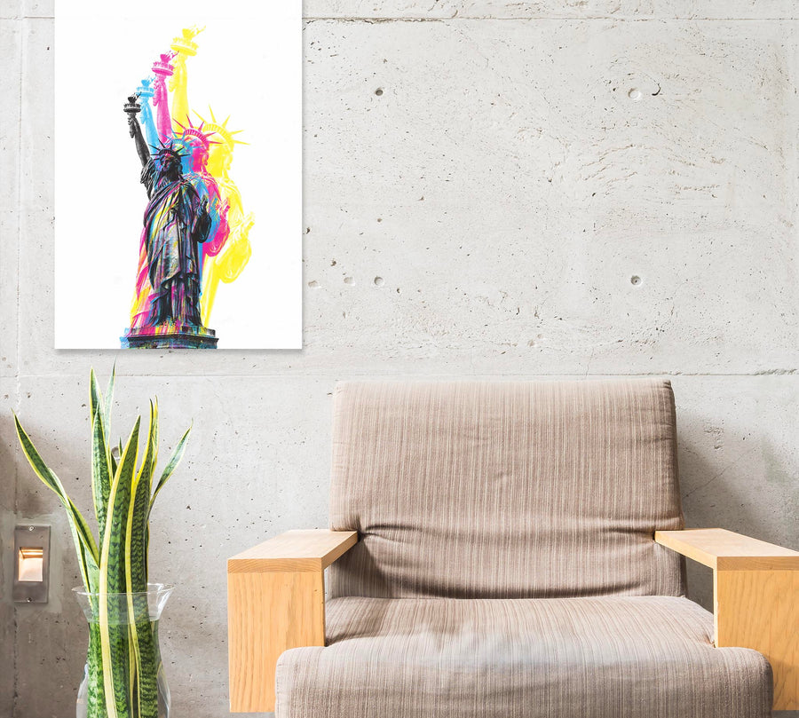 CMYK Artwork of Lady Statue of Liberty near chair