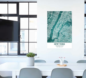 Manhattan New York City in Teal office