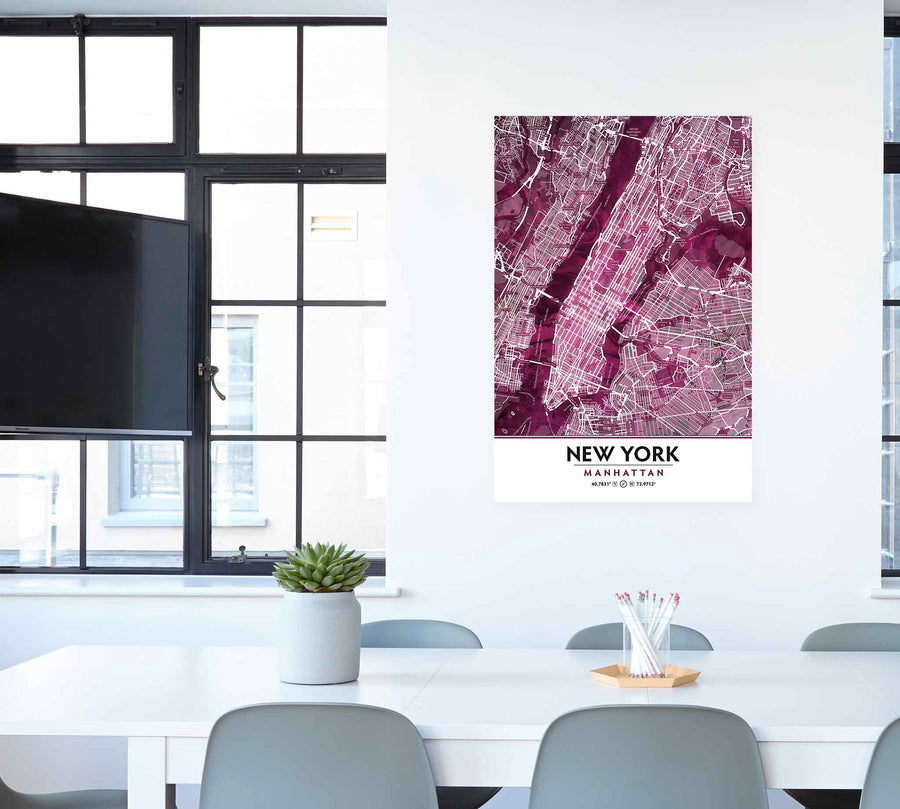 Black Rose Print Poster Showing Manhattan New York City in office