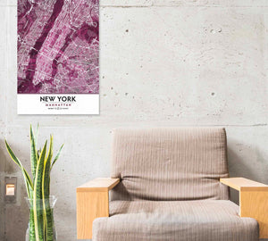 Black Rose Print Poster Showing Manhattan with chair