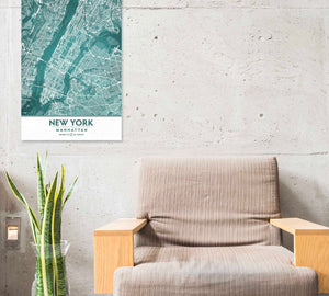 NYC poster with chair