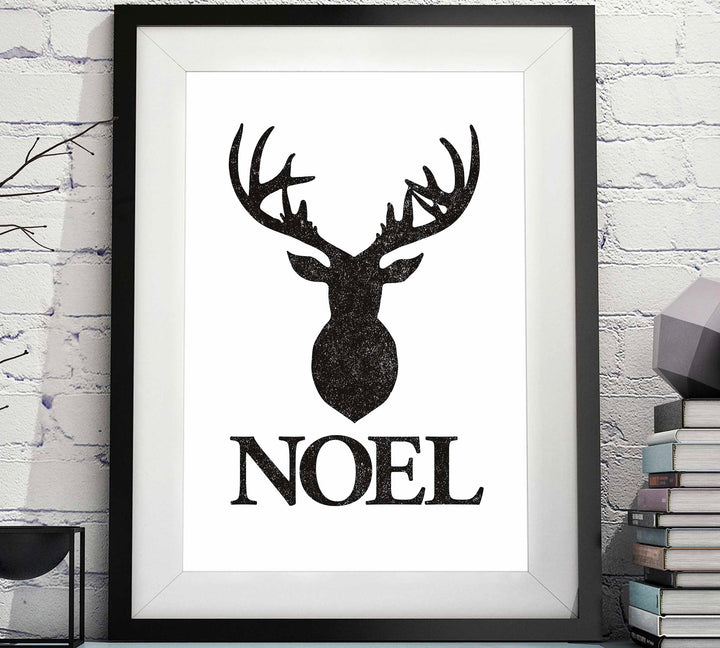 Stag NOEL in Black - Christmas Printable image