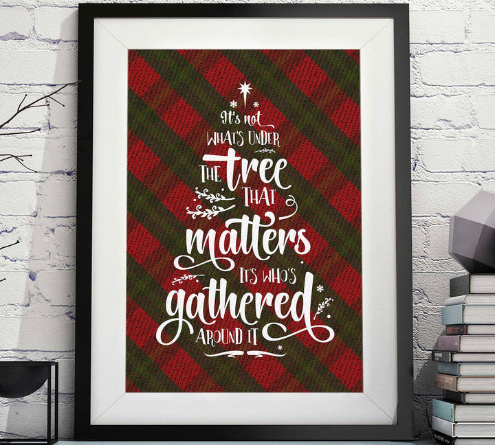 Under the Tree with Red-Green Plaid - Christmas Printable