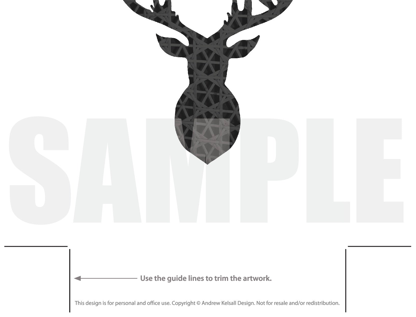 picture regarding Deer Silhouette Printable referred to as Deer Intellect Silhouette, Stags Intellect Lattice Routine Printable