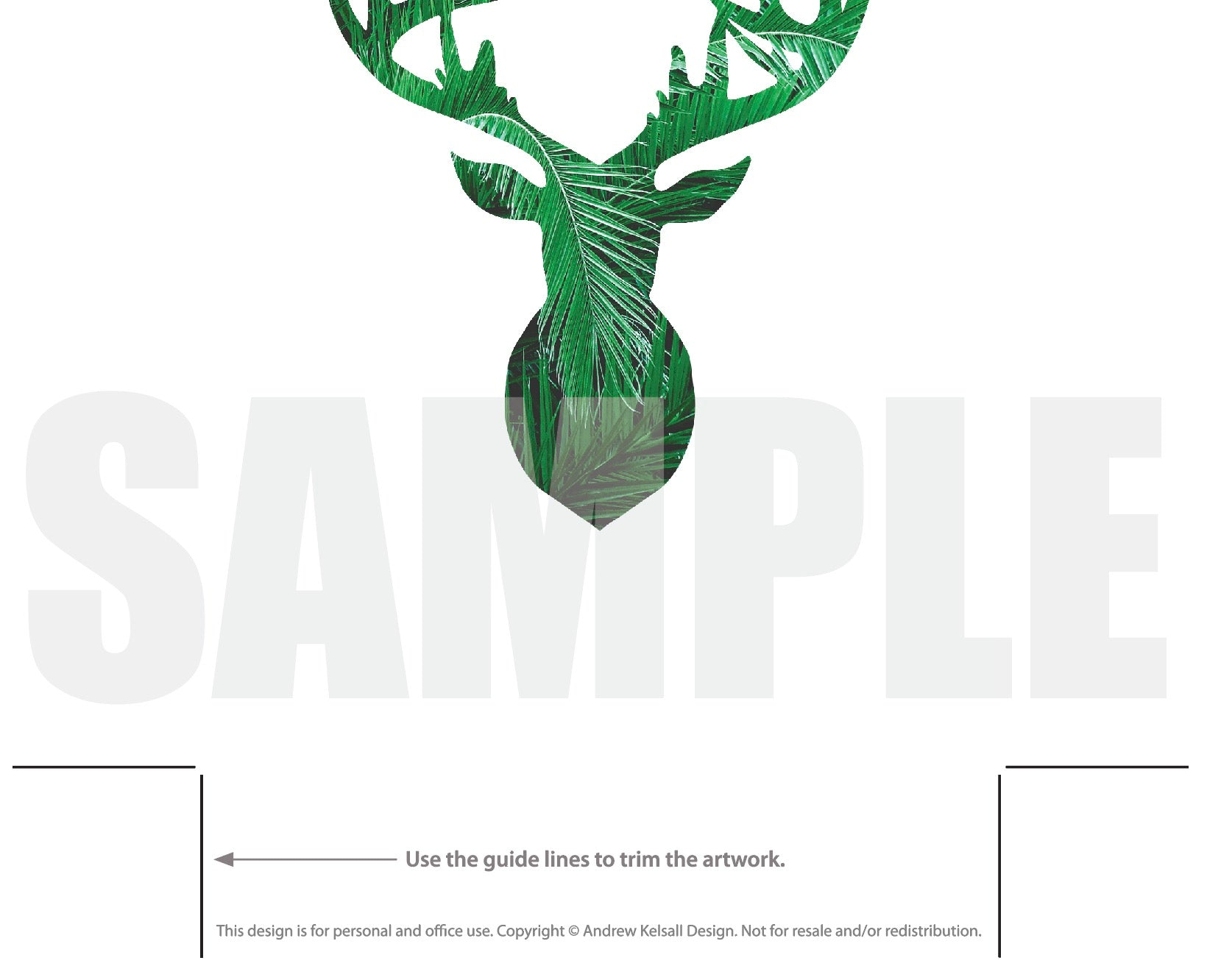 graphic about Deer Silhouette Printable named Deer Intellect Silhouette Palm Leaves Printable - Deer Determine