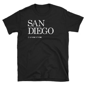 San Diego City USA Tshirt shows the Map Coordinates underneath in black
