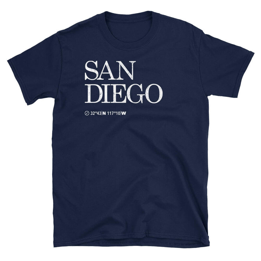 San Diego City USA Tshirt shows the Map Coordinates underneath in navy
