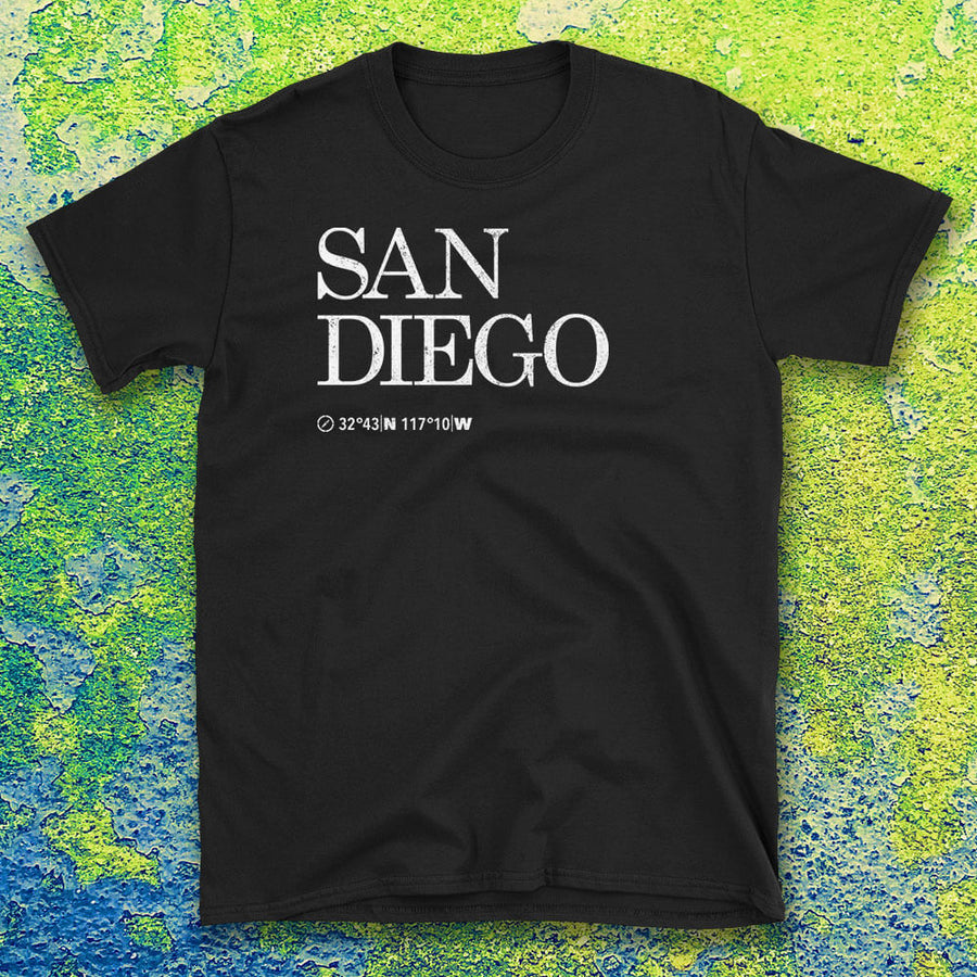 San Diego City USA Tshirt shows the Map Coordinates underneath with textured background