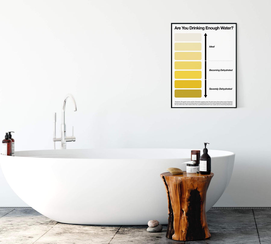 Urine color poster on a bathroom wall