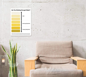 Urine pee chart poster on a wall near chair