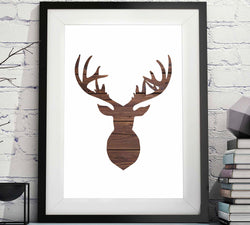 Deer Head Silhouette Rustic Wood Printable image