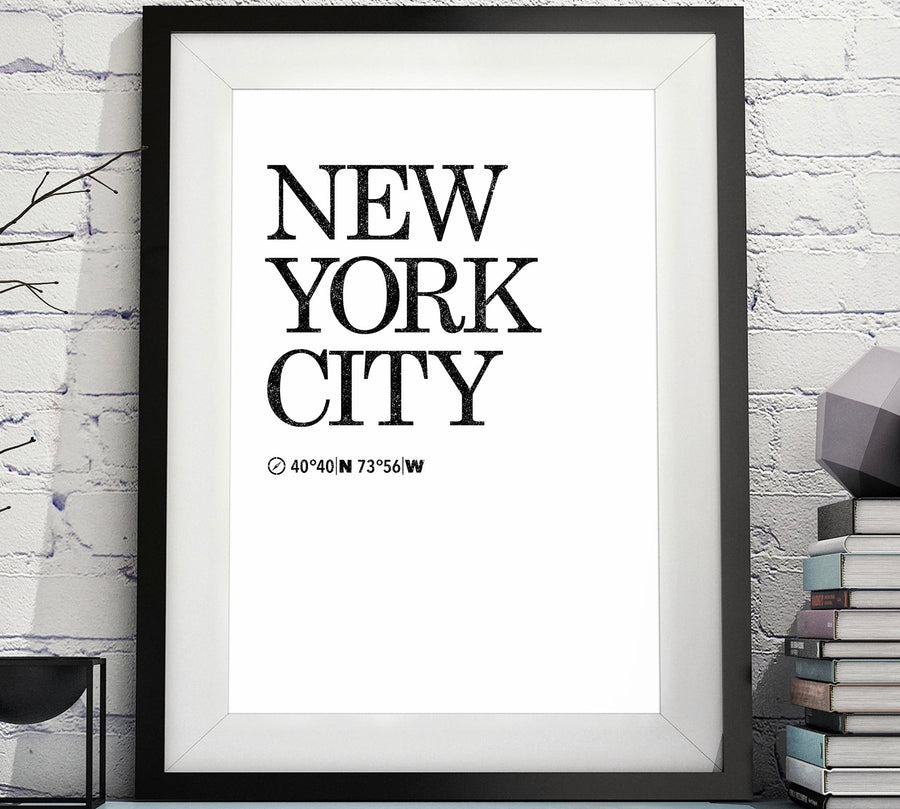 New York City Printable Decor - New York latitude and longitude