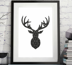 Deer Head Silhouette Lattice Pattern Printable image
