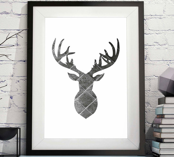 Deer Head Silhouette Diamond Pattern Printable image