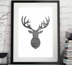 Deer Head Outline Rustic Wood Black and White Printable