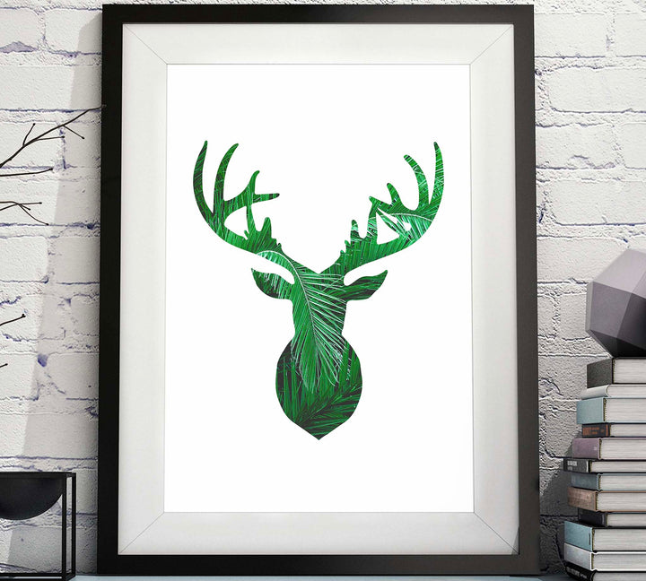Deer Head Silhouette Palm Leaves Printable image