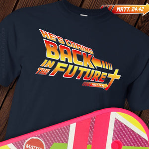 Christian themed back in the future tshirt with hoverboard