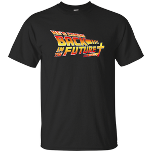 Christian themed back in the future tshirt in black