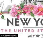 New York City Peony Flowers Map