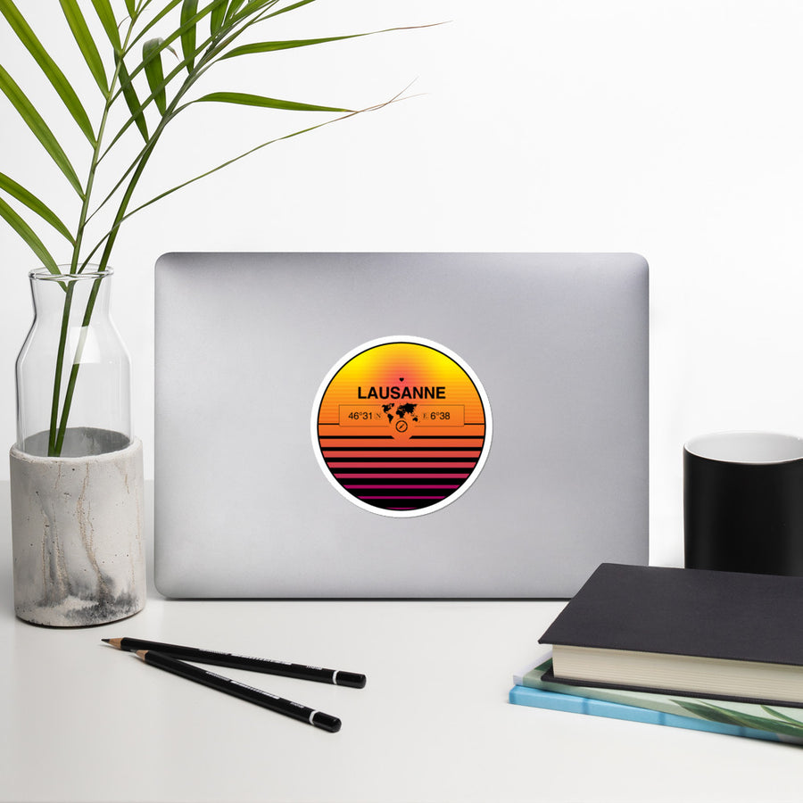Lausanne, Vaud 80s Retrowave Synthwave Sunset Vinyl Sticker 4.5""