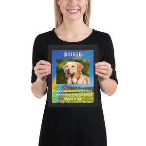 Personalised Dog Memorial Framed Artwork - Rainbow Bridge