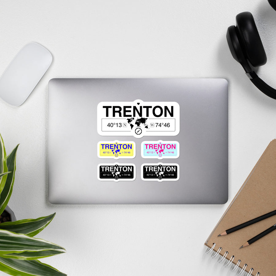 Trenton New Jersey Stickers, High-Quality Vinyl Laptop Stickers, Set of 5 Pack