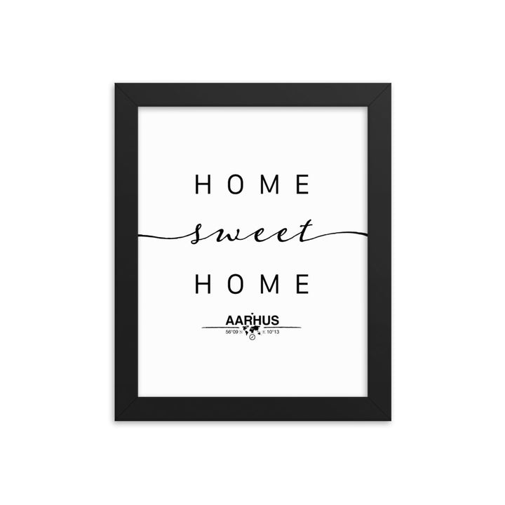 Aarhus, Central Denmark Region, Denmark Home Sweet Home With Map Coordinates Framed Artwork