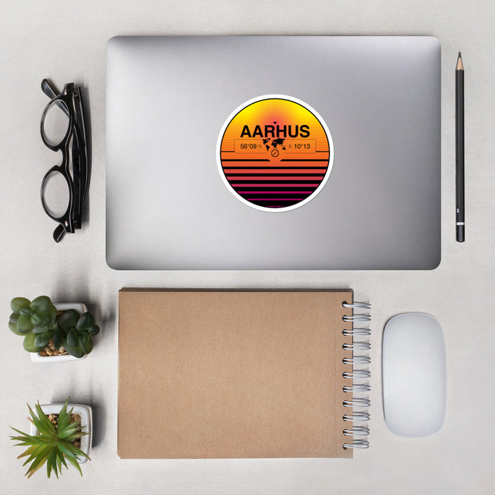 Aarhus, Central Denmark Reg 80s Retrowave Synthwave Sunset Vinyl Sticker 4.5""