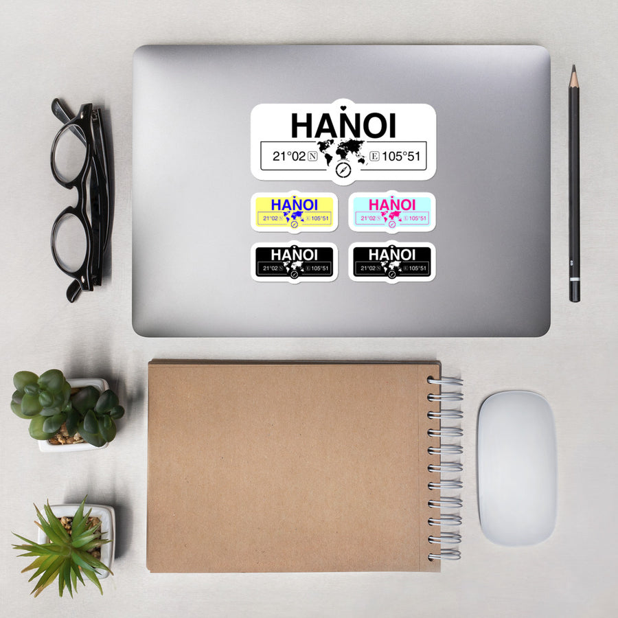 Hanoi Vietnam Stickers, High-Quality Vinyl Laptop Stickers, Set of 5 Pack