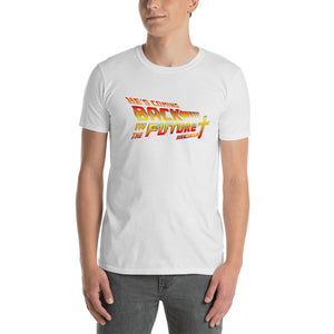 Christian themed back in the future tshirt modeled by man
