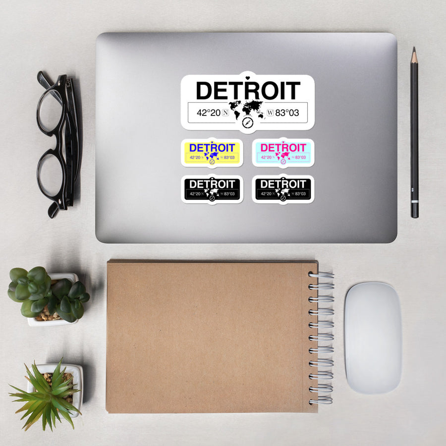 Detroit, Michigan Stickers, High-Quality Vinyl Laptop Stickers, Set of 5 Pack