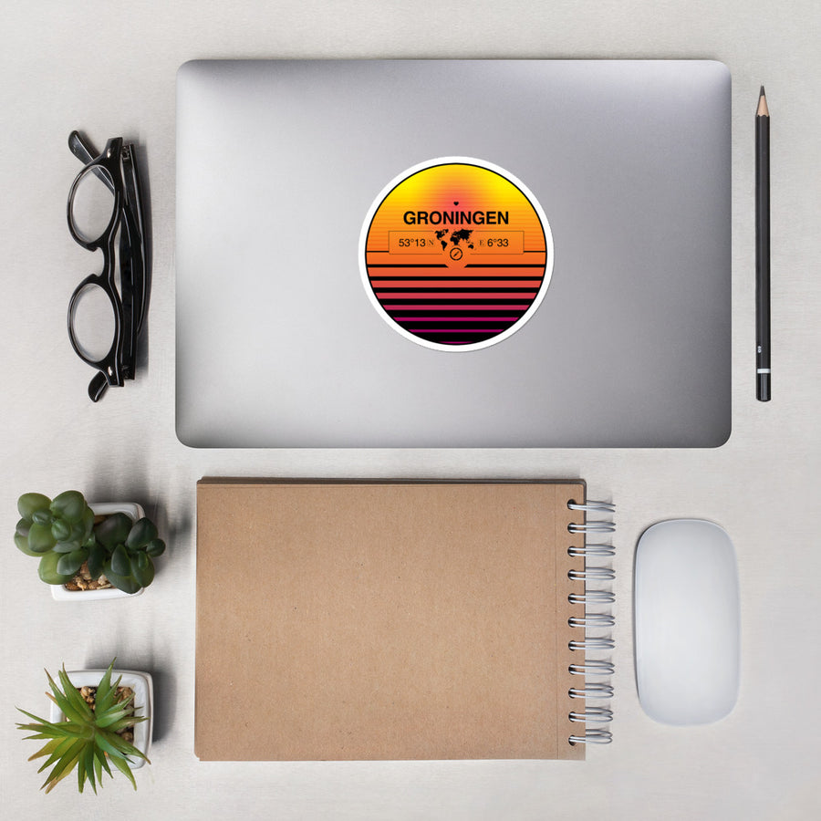 Groningen, Groningen 80s Retrowave Synthwave Sunset Vinyl Sticker 4.5""