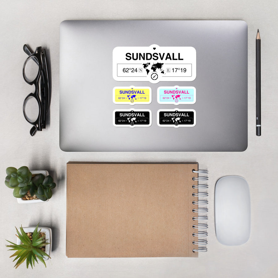 Sundsvall, västernorrland Stickers, High-Quality Vinyl Laptop Stickers, Set of 5 Pack
