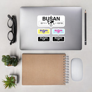 Busan Stickers, High-Quality Vinyl Laptop Stickers, Set of 5 Pack