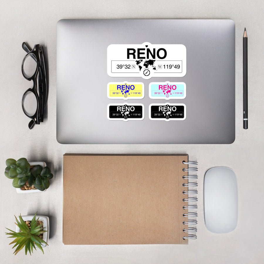 Reno Nevada High-Quality Vinyl Laptop Stickers, Set of 5 Pack
