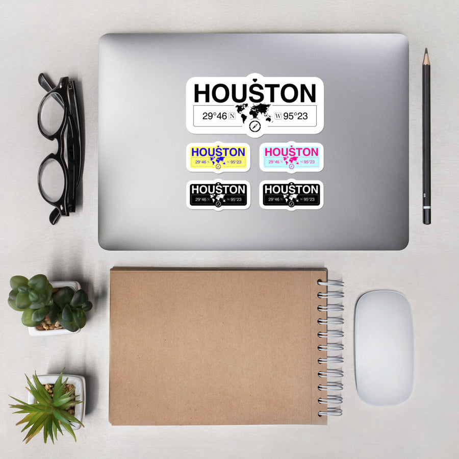 Houston Texas Stickers, High-Quality Vinyl Laptop Stickers, Set of 5 Pack