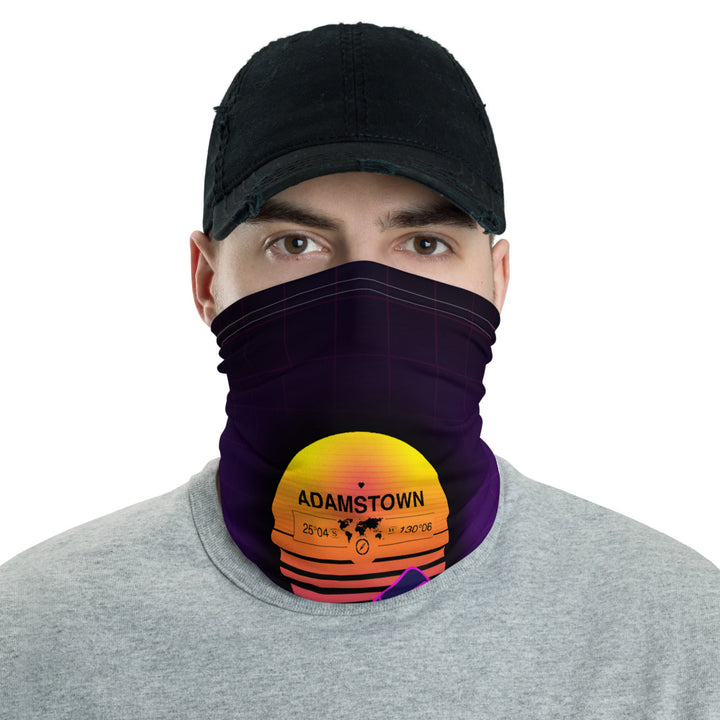 Adamstown, Pitcairn Islands, United Kingdom 80's Retro Sunset Gridline Mountains Neck Gaiter, Face Shield, Dust Mask Bandana, Washable Face Mask, Blue & Purple